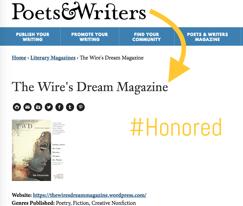 The Wire's Dream Magazine Is Listed On Poets & Writers!